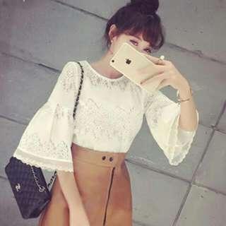特價韓版秋裝蕾絲縷空上衣(黑白兩色)