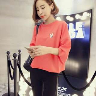 韓版秋裝新款七分袖T恤(紅色)