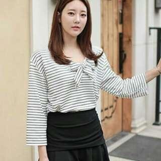 特價韓版秋裝新款條紋T恤(白色)