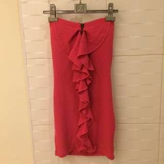 桃紅前拉鍊包臀洋裝