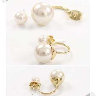 韓國🇰🇷 大小珍珠後勾鋼針抗過敏耳環