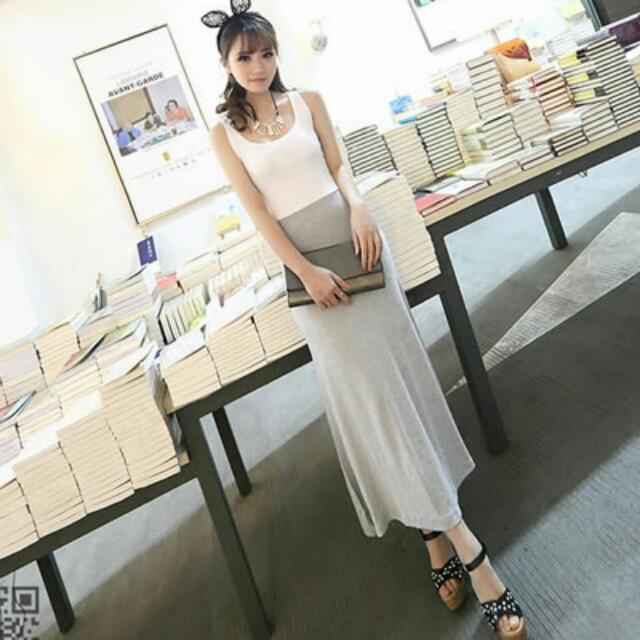 韓國超舒適莫代爾棉背心連身長裙(兩色)