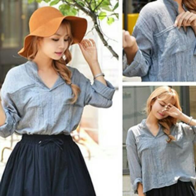特價韓版純色棉麻皺褶襯衫藍灰色