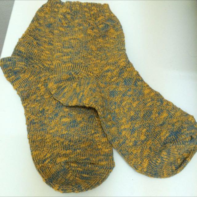 (含運💕)黃色古著針織襪👘💚
