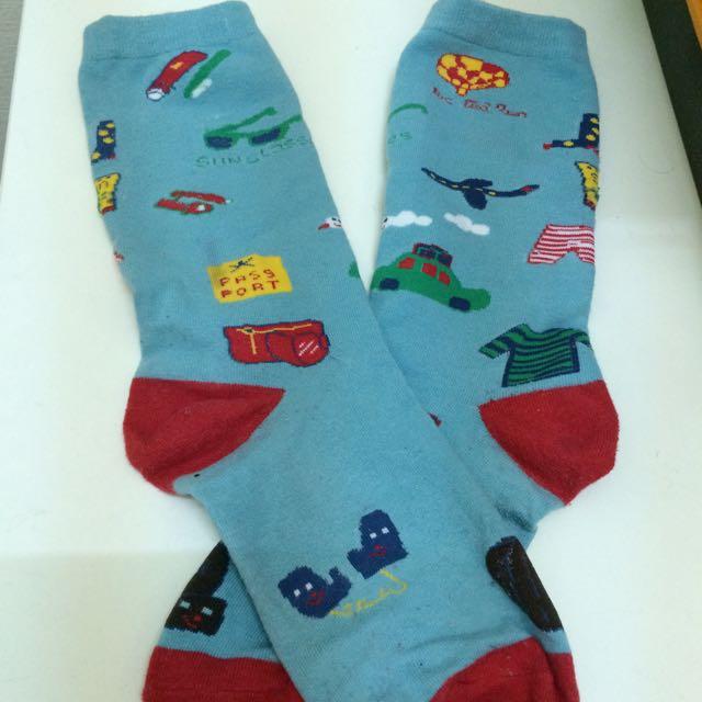 (含運💕)藍色可愛中筒襪💮🚙