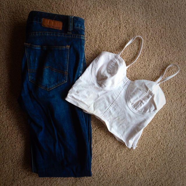 BUNDLE Jeans West Jean & White Crop