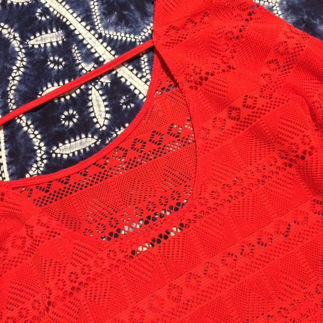 日本Forever21 歐美 簍空 露背 紅色上衣