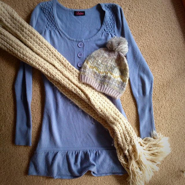 WINTER BUNDLE Sweater Dress, Scarf, And Beanie