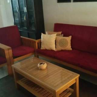 Solid Cherry Wood Outdoor Sofa Set + Coffee Table