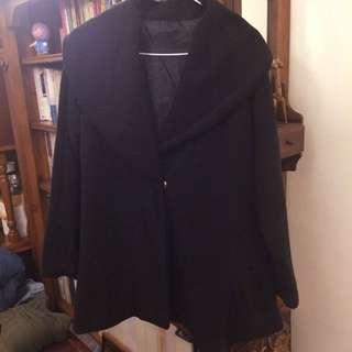 黑色傘狀厚外套