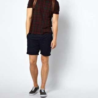 BNWT ASOS Navy Blue Chino Shorts In Mid Length