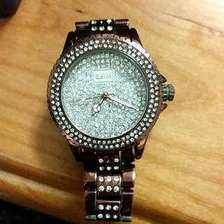 滿版超閃鑽巧克力色手錶