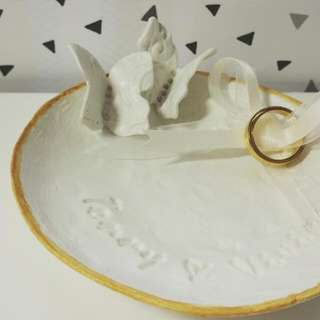 Personalised wedding ring dish