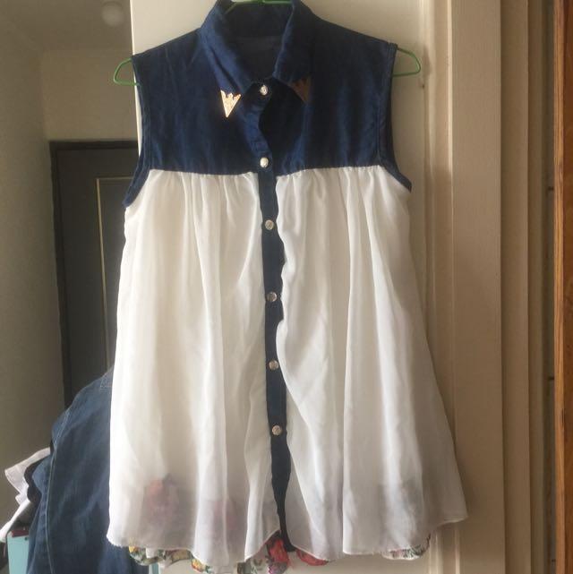 無袖雪紡上衣裙