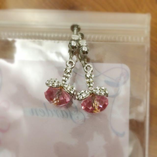 粉紅鑽蝴蝶結耳環