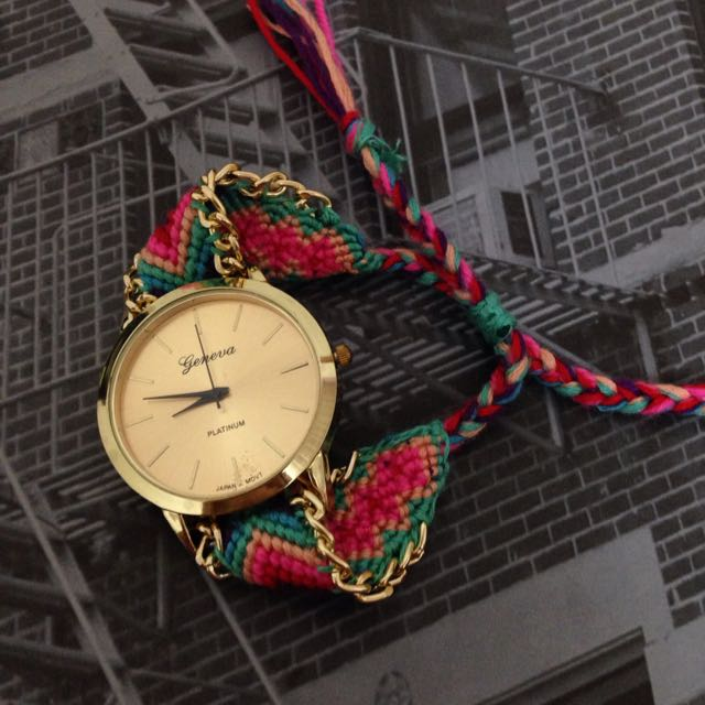 彩虹編織錶。免運
