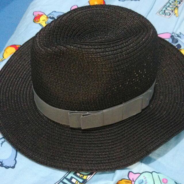 預購黑色蝴蝶結草帽♡