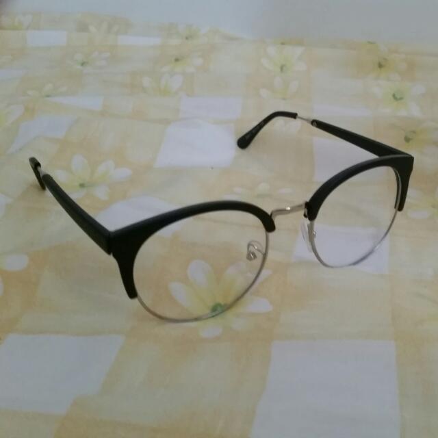 復古貓眼半框金屬邊眼鏡框 附眼鏡盒