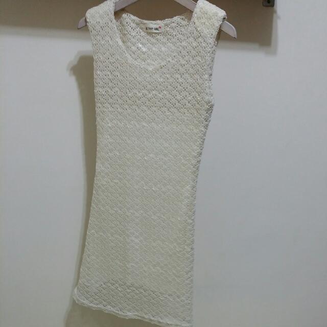 全新~蕾絲 半透明 緊身長洋裝 背心洋裝  珍珠白色 小洋裝 一件式 one piece S號
