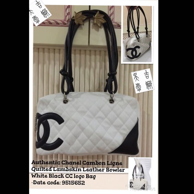 b622b422b0 R-Authentic Chanel Cambon Ligne Quilted Lambskin Leather Bowler White Black  CC logo Bag, Luxury on Carousell