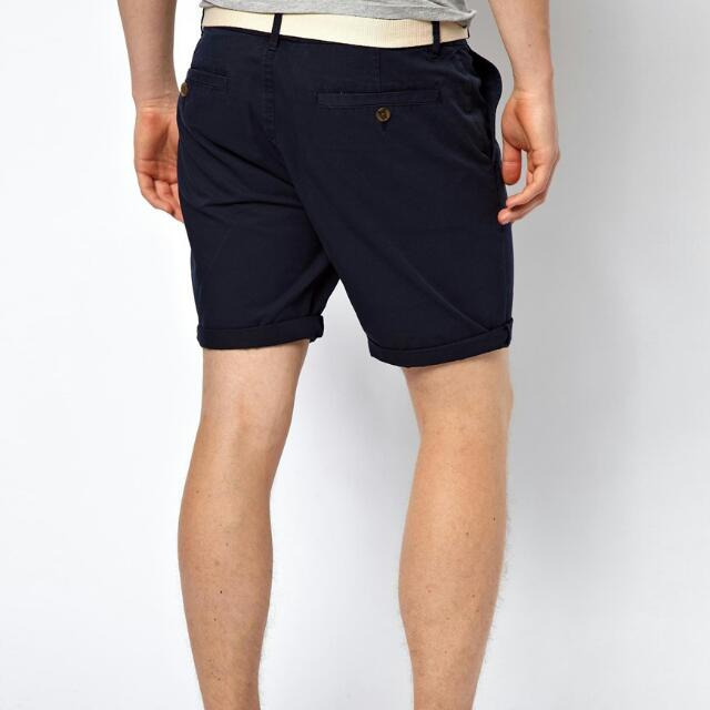 BNWT ASOS Navy Blue Chino Shorts In Mid Length