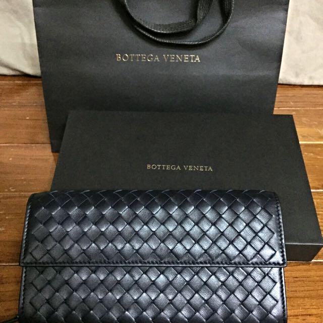 《全新》BV長夾發財包款(藍黑色)---專櫃購入