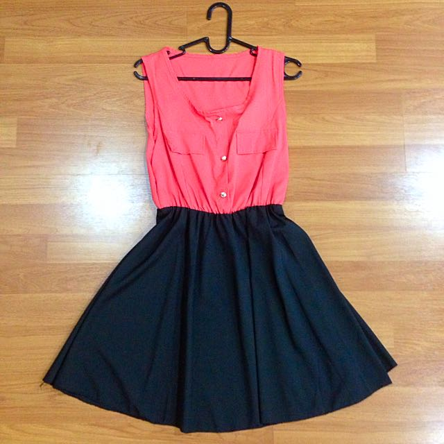 [MSIA] Coral Red & Black Dress