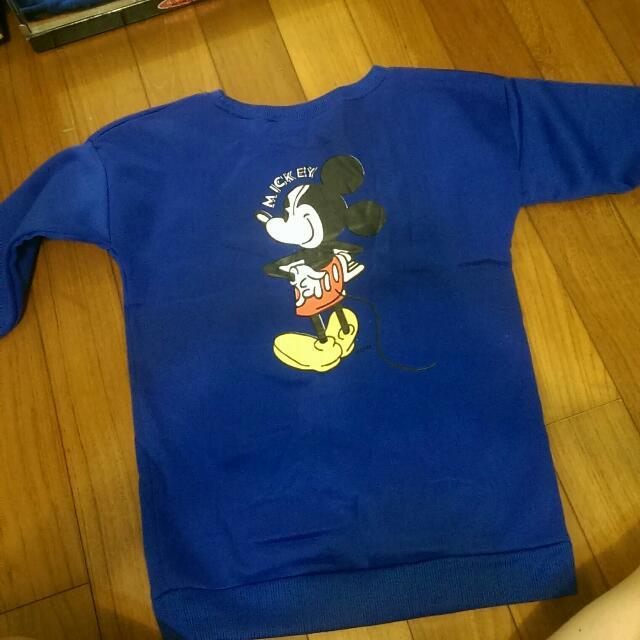 ✨免運✨韓國Mickey藍色刷毛大學T/衛衣