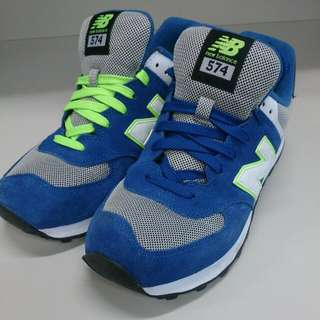 (保留)NEW BALANCE 574-寶藍螢綠復古慢跑鞋(正品)(男鞋)