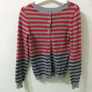 紅灰條紋針織外套