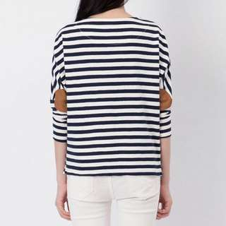 Blue Stripes Tee With Elbow Patch