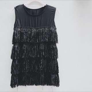 正韓黑色流蘇洋裝