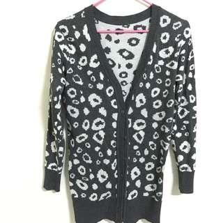 豹紋針織外套