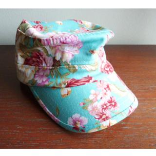 Cute Aqua Green & Pink Floral Roses Cap Hat, 100% Cotton
