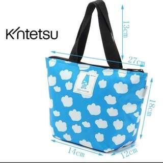 出口日本~藍色可愛保溫袋 出遊保冷保溫有拉鍊 方便好攜帶