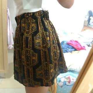 幾何圖形雪紡高腰短裙
