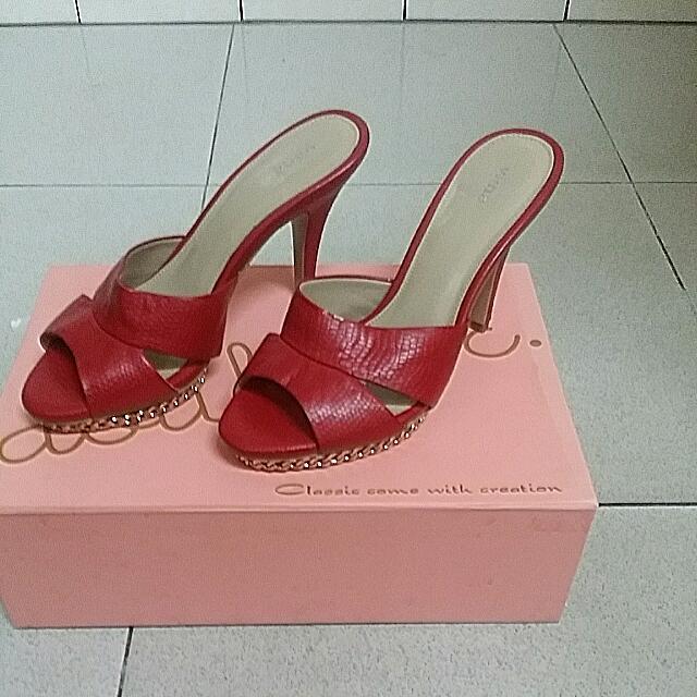 紅色蛇紋高跟鞋(37)原價2290