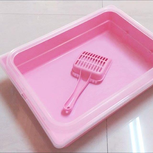 (已預定) 粉紅色貓沙盆/寵物專用方便盆(附貓鏟)