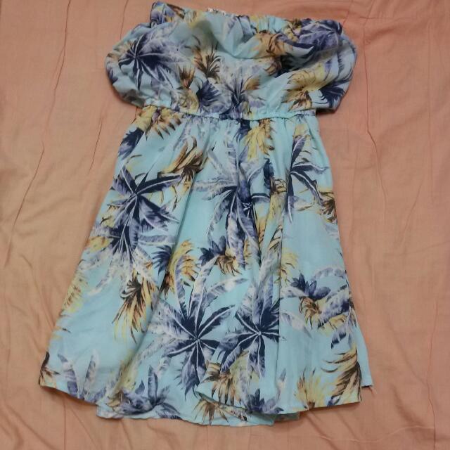 水藍平口洋裝