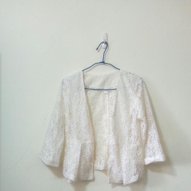 優雅蕾絲透膚七分袖西裝外套