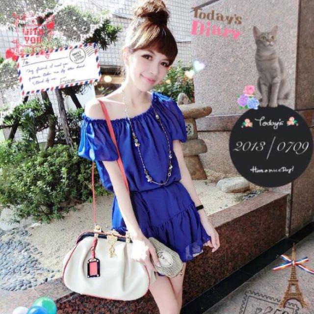 正韓🎀藍紫色伸縮雪紡洋裝
