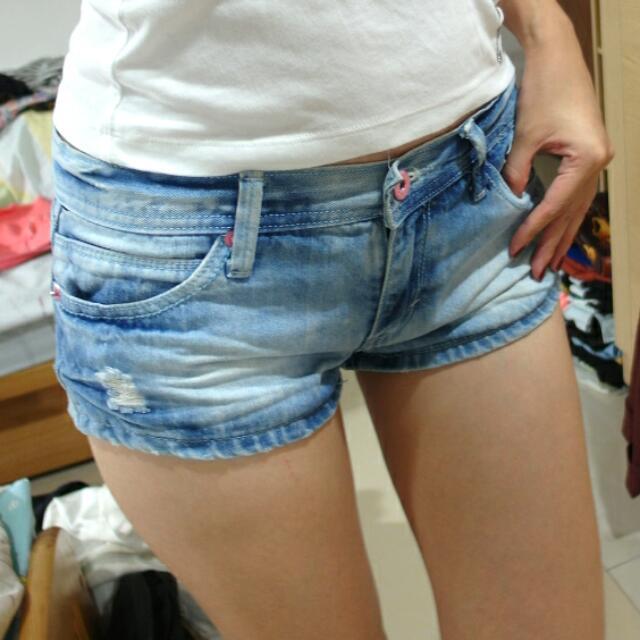 水藍青春迷你短褲