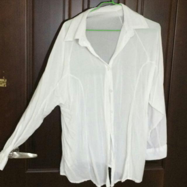 純白蝙蝠袖襯衫 外罩