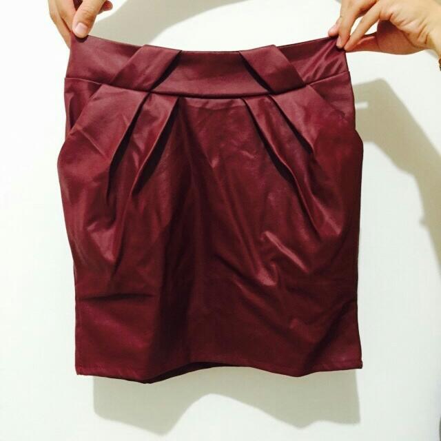 [全新品]皮裙 秋裝 紅色 棗紅