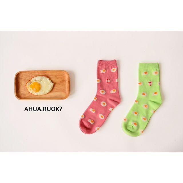 兩雙特價 日本Caramella荷包蛋圖案襪♥️ 中筒襪 短襪子 可愛 動物 卡通 復古 條紋 搭配 阿華有事嗎