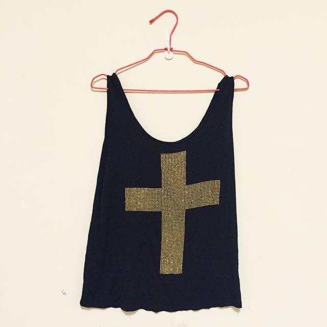 (已保留)👻二手倫敦購入 H&M DIVIDED 十字架鉚釘卯丁背心 貓咪曬月亮 ZARA TOPSHOP NUDE MOONCAT MANGO ASOS