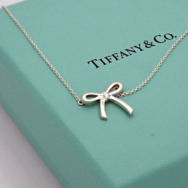 Authentic tiffany co sterling 925 silver mini bow pendant necklace photo photo photo photo photo aloadofball Gallery