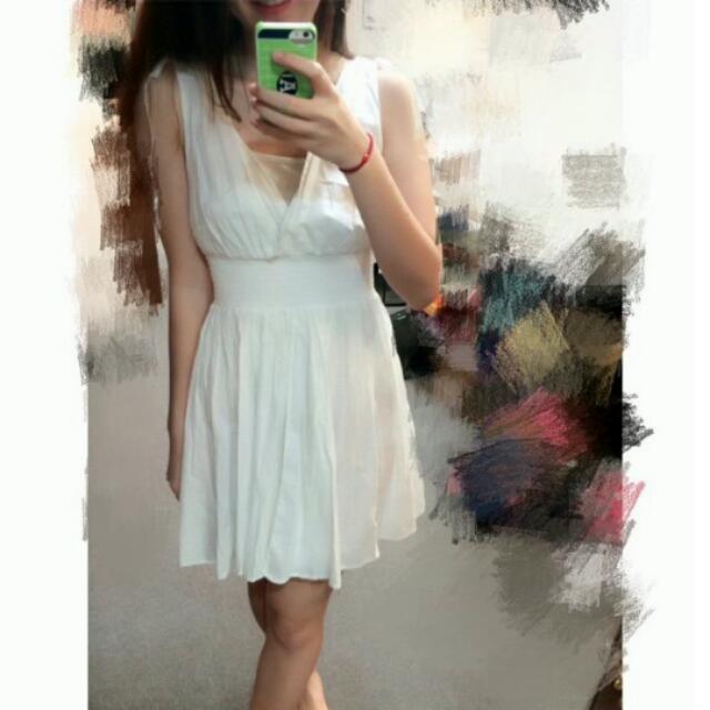 h&m氣質綁帶束腰白洋裝 九成新