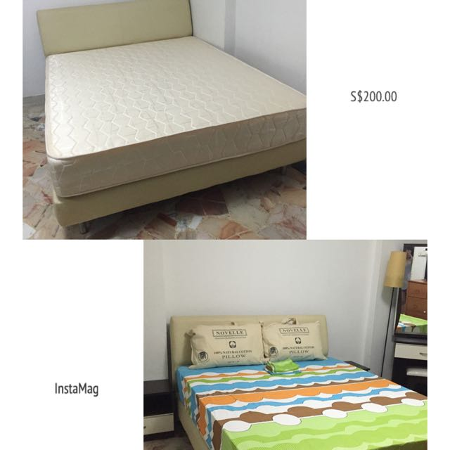 Queen Bedframe With 9inches Spring Mattress