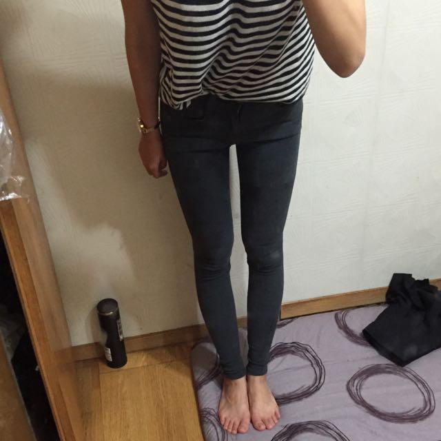 (Room4) 26腰鐵灰貼腿長褲